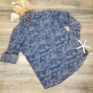 Rock & Republic blue camo cotton Men's shirt Sz L